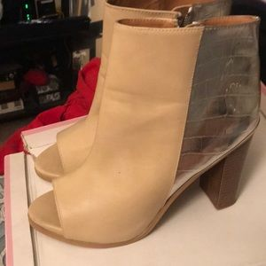 Tan and Silver Ankle Boots